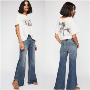 Free People Vintage Flare Raw Hem Ripped Jeans 25
